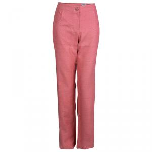 Chanel Pink Textured Silk Wide Leg Trousers L
