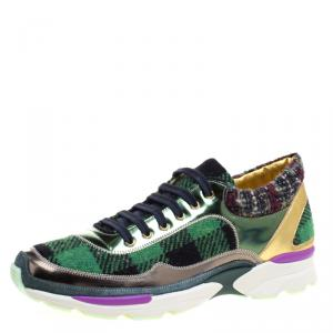 Chanel Multicolor Tweed and Leather Sneakers Size 40.5