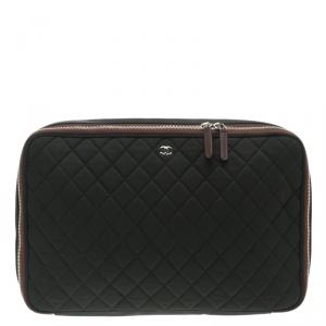 Chanel Black Quilted Nylon Laptop Case 15