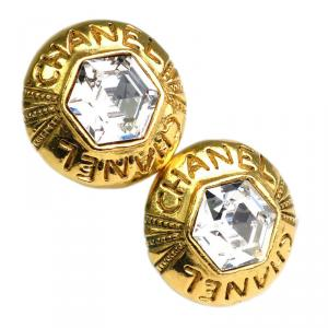 Chanel Crystal Gold Tone Clip Earrings