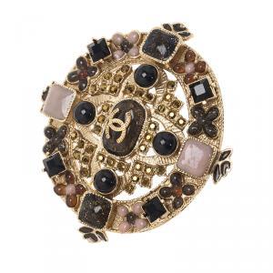 Chanel CC Cross Multi Color Crystal Gold Tone Brooch