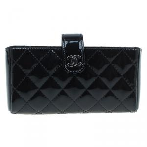 Chanel Black Quilted Patent Iphone Pouch
