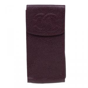 Chanel Burgundy Leather CC iPhone Case
