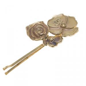 Chanel CC Camellia Enamel Gold Tone Hair Pin