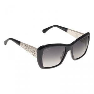 Chanel Navy Blue 5301 Embellished Rectangle Sunglasses