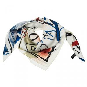 Chanel White Multi-color Love Heart Print Silk Square Scarf