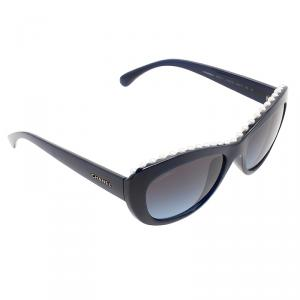Chanel Navy Blue 6038H Pearl Embellished Cat Eye Sunglasses