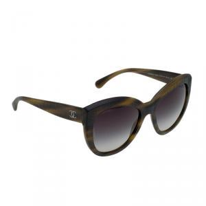 Chanel Striped Brown 5332 1535S/6 Cat Eye Sunglasses