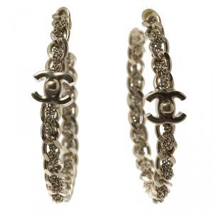 Chanel Chain Link Gold Tone Large Hoop Earrings