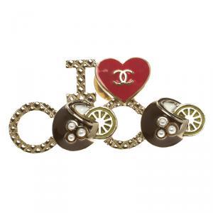 Chanel I Love Coco Gold Tone Enamel Brooch