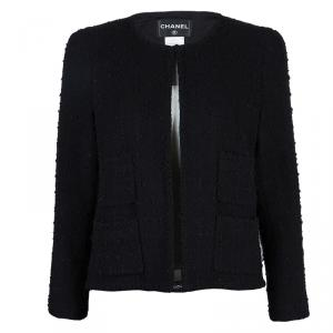 Chanel Black Wool Boucle Jacket L