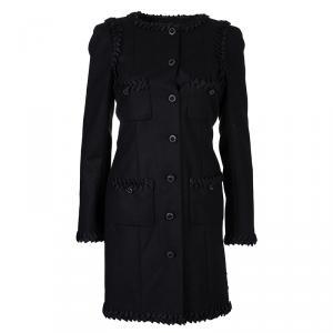 Chanel Black Geometric Applique Detail Overcoat S