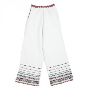 Chanel Off White Cotton Chevron Embroidered Wide Leg Pants M