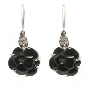 Chanel Camelia Onyx Sculpte Diamond 18k White Gold Hook Earrings