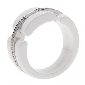 Chanel Diamonds 18 K White Gold & Ceramic Ultra Ring Size 56