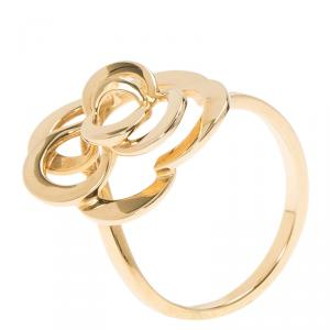 Chanel Camelia Yellow Gold Ring Size 54