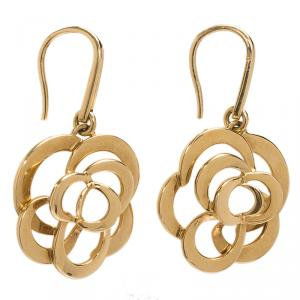 Chanel Camelia Yellow Gold Earrings