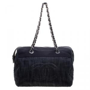 Chanel Navy Blue Quilted Denim CC Bowling Bag