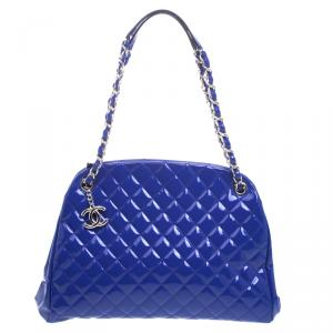 Chanel Blue Quilted Patent Leather Just Mademoiselle Bowling Bag