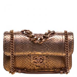 Chanel Bronze Python Medium Perfect Edge Double Flap Bag