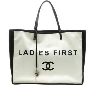 Chanel White/Black Canvas Ladies First Shopper Tote