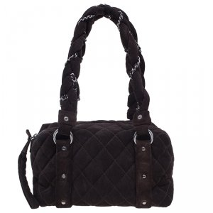 Chanel Brown Suede Lady Braid Satchel Bag