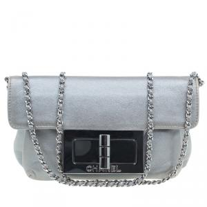 Chanel Silver Leather Mademoiselle Lock Evening Flap Bag