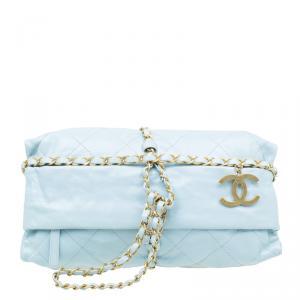 Chanel Powder Blue Quilted Calfskin Leather Baluchon Evening Bag
