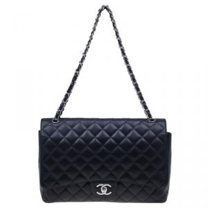 Chanel Black Caviar Maxi Classic Double Flap Bag