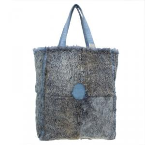 Chanel Grey/Blue Rabbit Fur Tote with Pouch