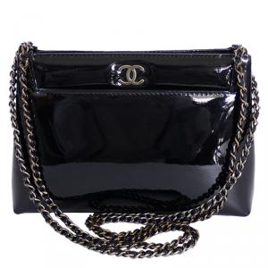 Chanel Black Patent Small Evening Shoulder Bag