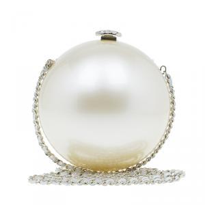 Chanel Pearl Plexiglass Round Shape Minaudiere Evening Bag