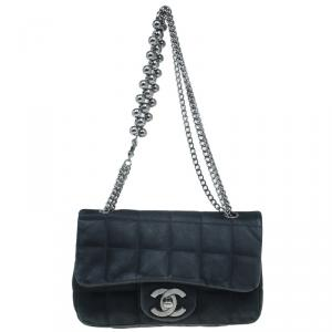 Chanel Black Square Quilted Satin Mini Flap Evening Bag