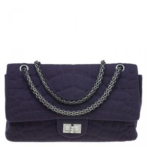 Chanel Purple Jersey Croc Embroidered 2.55 Reissue Classic 225 Flap Bag
