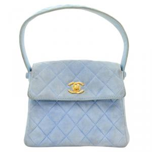 Chanel Light Blue Quilted Suede Mini Flap Bag
