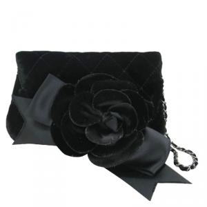 Chanel Black Velvet Poach Camellia Shoulder Bag
