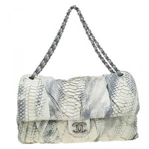 Chanel Cream/Grey Python Jumbo XL Flap Bag