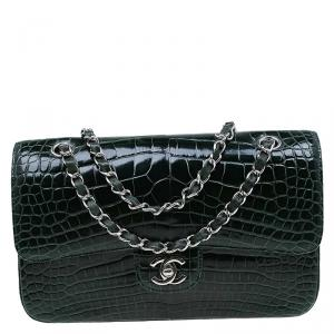 Chanel Dark Green Alligator Medium Classic Double Flap Bag
