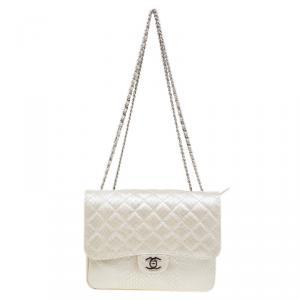 Chanel Pearl Python Classic 3 Flap Bag