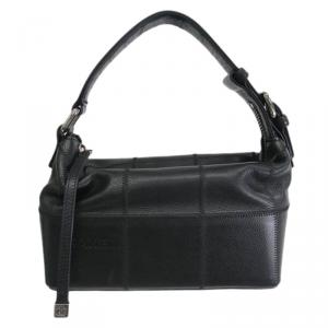 حقيبة شانيل خياطة مربعة جلد كافيار سوداء