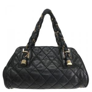 Chanel Black Quilted Lambskin Leather Lady Braid Satchel