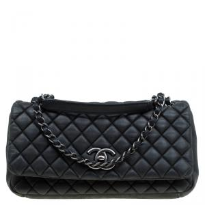 Chanel Black Quilted Iridescent Leather Medium New Bubble Flap Bag