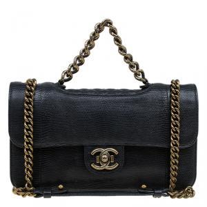 Chanel Black Lizard Skin Medium Perfect Edge Flap Bag