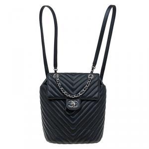 حقيبة ظهر شانيل كلاسيك جلد شيفرون أسود