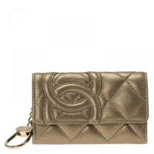 Chanel Bronze Quilted Leather Cambon Key Case Holder