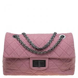 Chanel Pink Quilted Fabric Limited Edition XXL Reissue Travel Bag