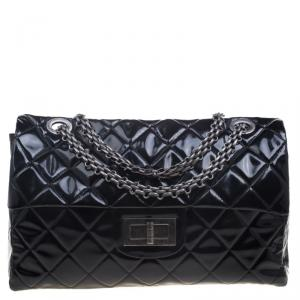 Chanel Black Quilted Patent Leather XXL Reissue Travel Bag