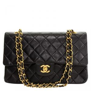 Chanel Black Quilted Lambskin Medium Vintage Double Flap Bag