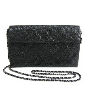 Chanel Black Calfskin Leather Limited Edition Christmas 2014 Evening Bag