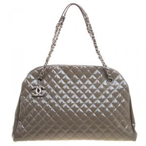 Chanel Moose Green Quilted Patent Leather Large Just Mademoiselle Bowling Bag